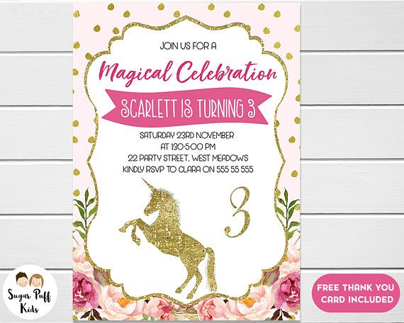 Hot pink unicorn birthday invitation birthday invitation unicorn hot pink unicorn birthday invitation birthday invitation stopboris Image collections