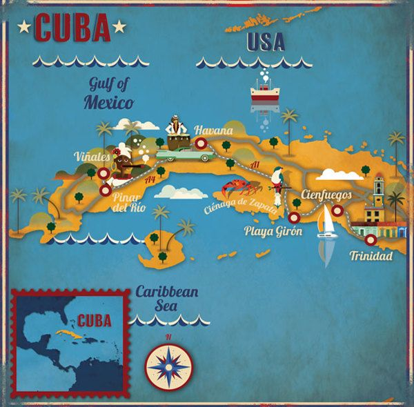 Cuba map by Alexandre Verhillewe went by Cuba on our cruise from