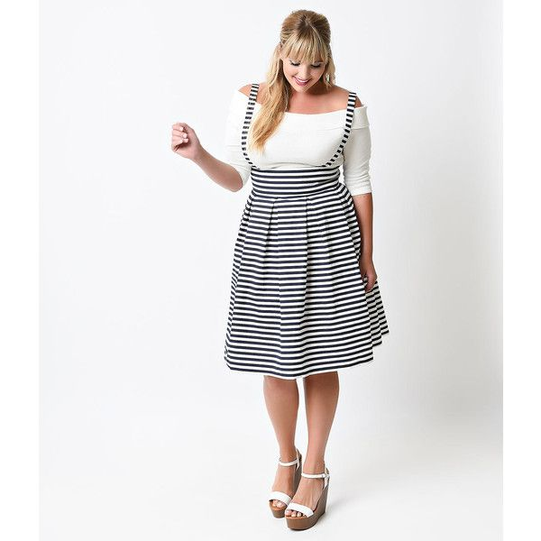 f92b289a010 Iconic by Uv Plus Size Navy   White Striped Jitterbug Suspender Skirt ( 88)  ❤ liked on Polyvore featuring skirts
