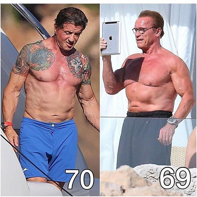 Arnold and Stallone. One the age of 70 and the other at 69