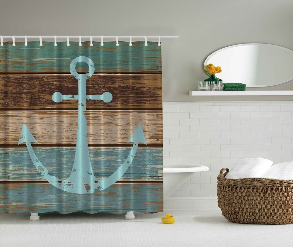 Rustic Old Anchor Shower Curtain Wooden Deck Beach Nautical Bath Decor