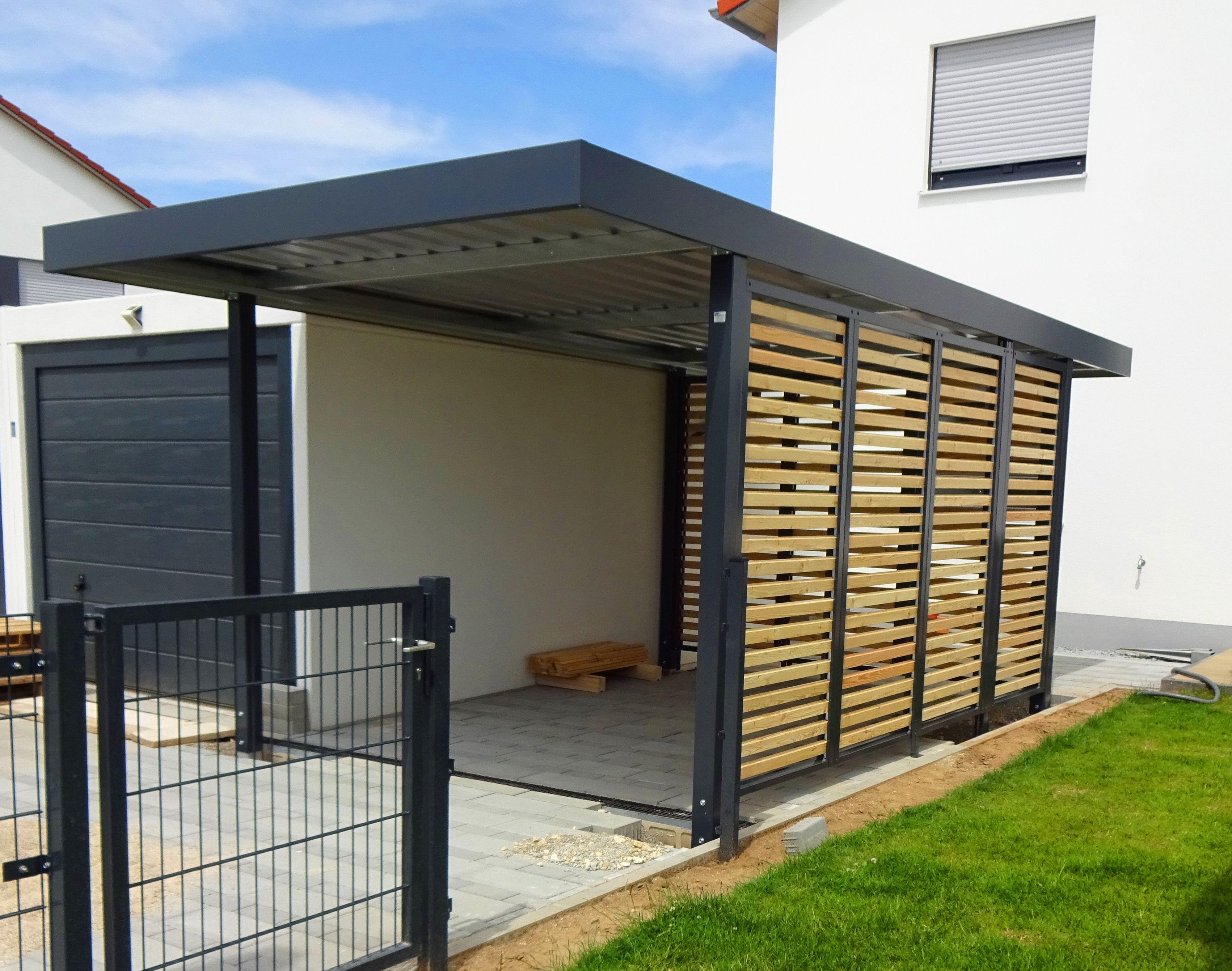 Myport Einzelcarport Mit Holz Wandfeldern Carport Stahl Moderne Hausfassaden Carport