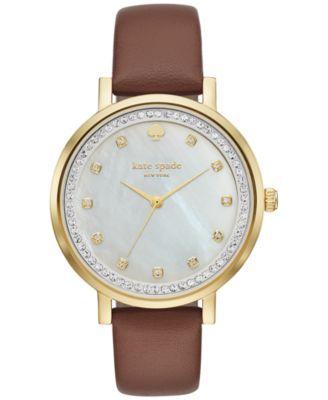 kate spade new york Women's Monterey Cognac Leather Strap Watch 38mm KSW1050   macys.com