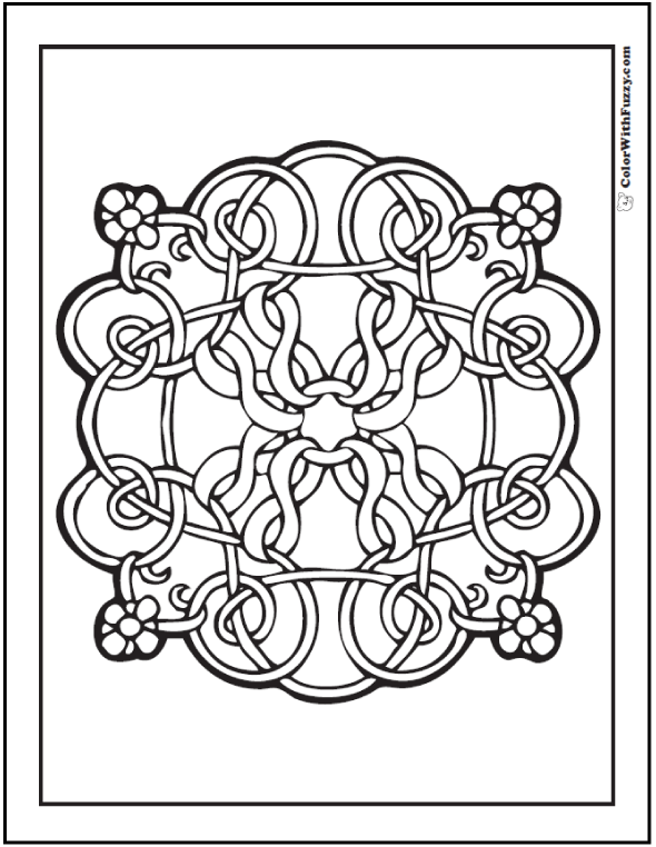 Fuzzys Flowers Celtic Design Coloring Page Has A Sweet Floral And Ribbon Theme
