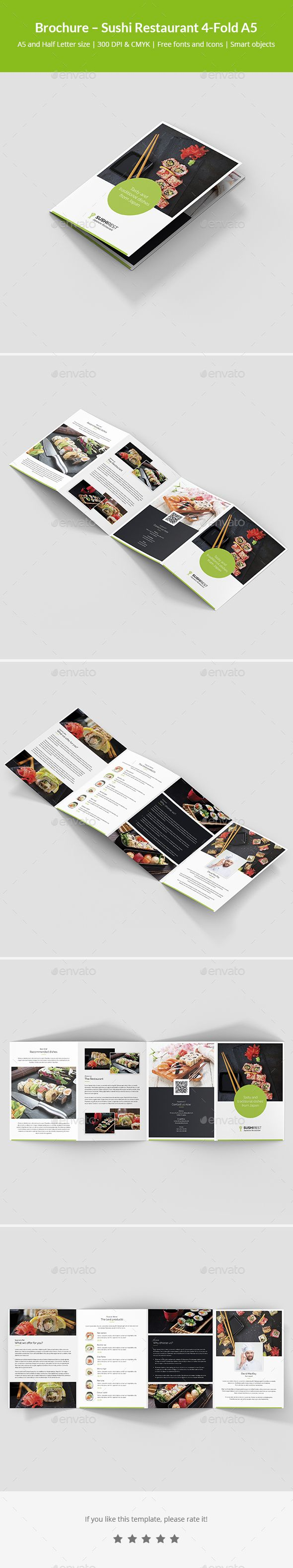Brochure Sushi Restaurant Fold A Sushi Restaurants - A5 brochure template