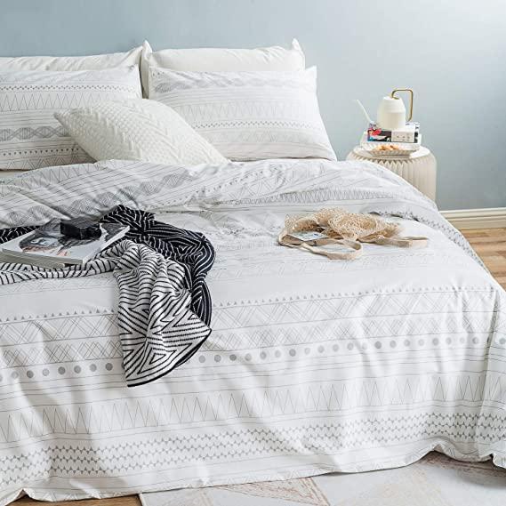 Amazon Com Susybao 3 Piece Duvet Cover Set Queen Size 100 Natural Cotton White And Grey Boho Geometr Geometric Bedding Geometric Duvet Cover Duvet Cover Sets