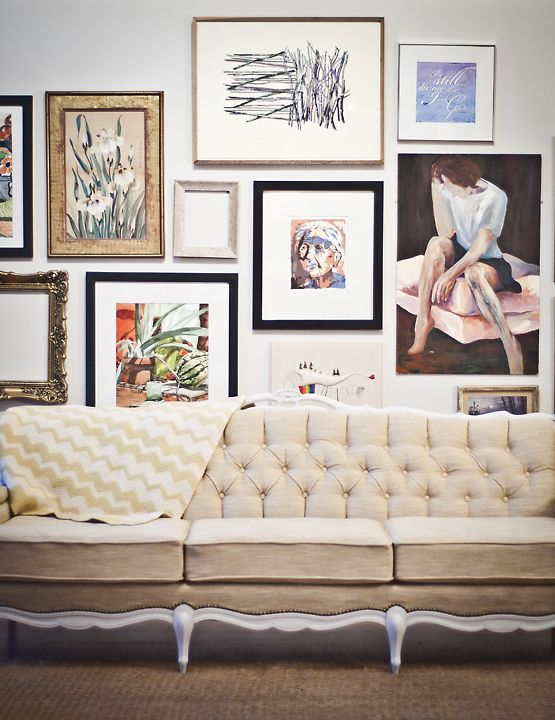 Mirror Gallery Wall Tufted Sofa