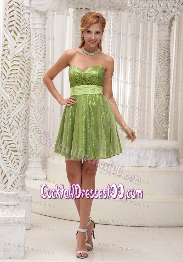 Olive Green Cocktail Dress in Shinning Fabric and Tulle with a Sash ...