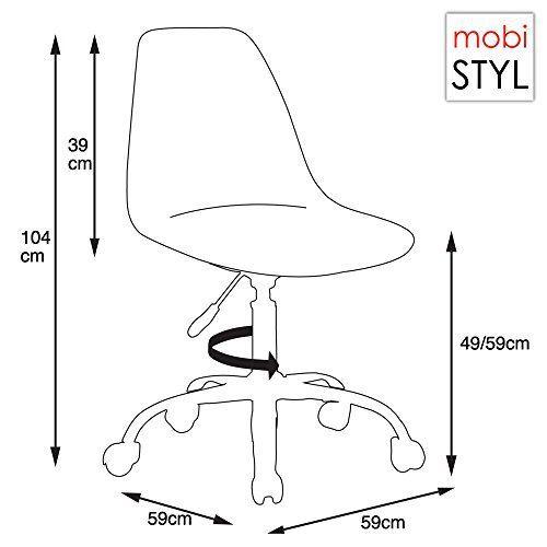 Promo 1 x Chaise de Bureau Hauteur réglable Roulettes Chrome Assise