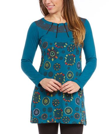Look what I found on #zulily! Turquoise Medallion Tunic by Adria Mode #zulilyfinds