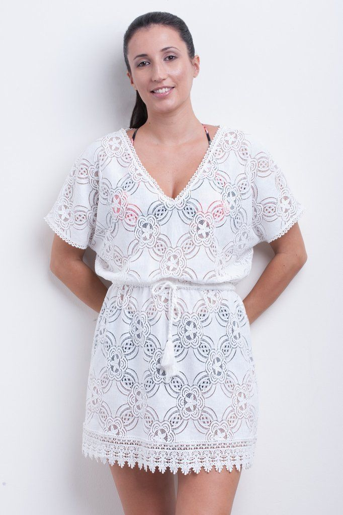 28d4f91e623a1 Geometric Flower Lace Kaftan - Hot House Collection, the perfect cover up  in white/