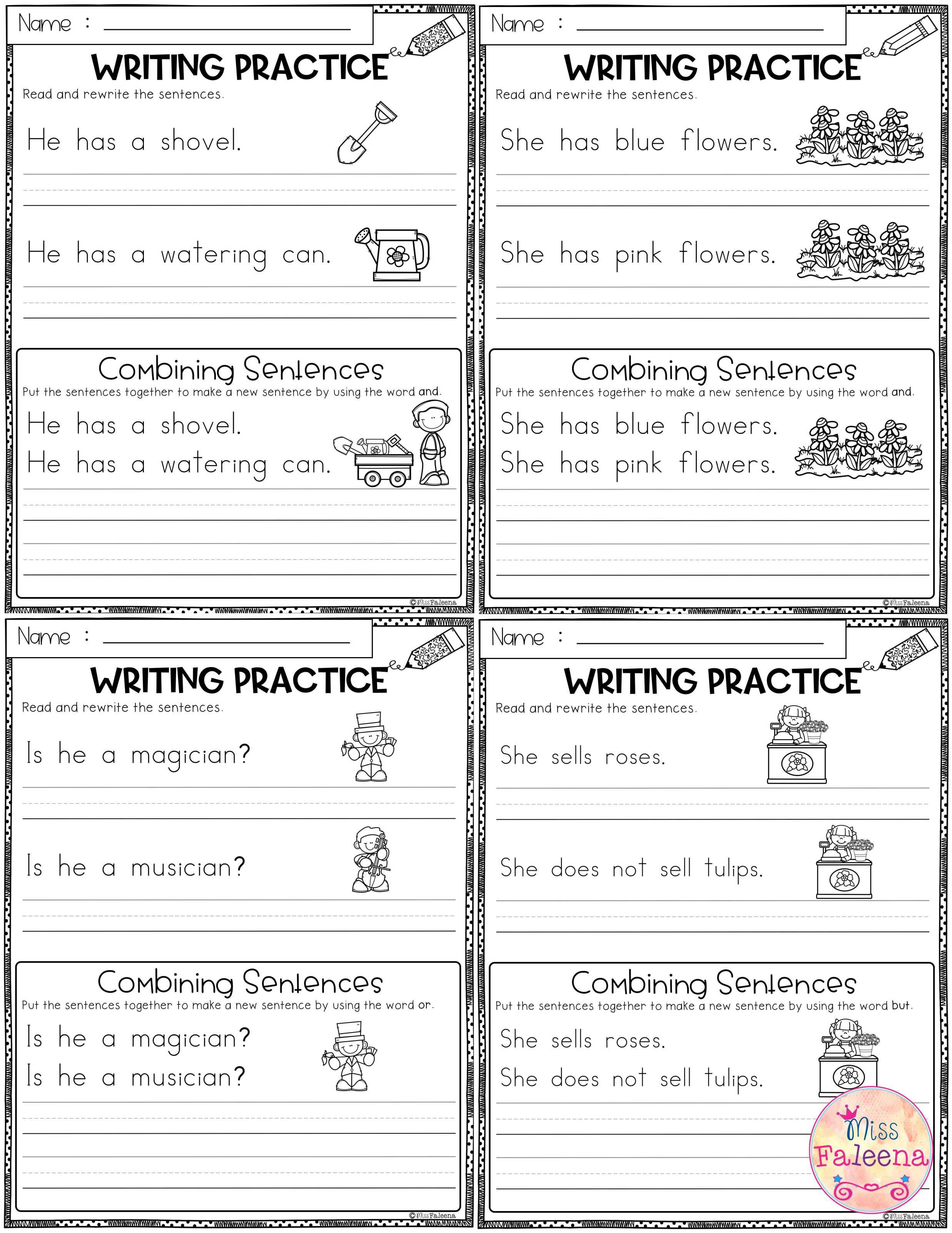 May Writing Practice Combining Sentences