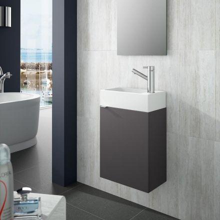 meuble lave main faible profondeur 22x40 cm gris brillant. Black Bedroom Furniture Sets. Home Design Ideas