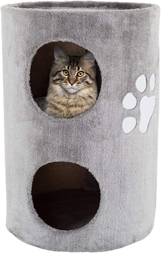 Amazon Com Petmaker Cat Condo 2 Story Double Hole With Scratching Surface 14 X 20 5 Gray Pet Supplies Cat Condo Cats Feral Cat House