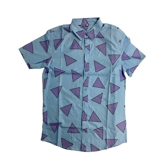 350c6b4f261 Rocko s Modern Life Triangle Shirt Rocko TV Show Costume Button Down Up T- Shirt 90s Wallaby Nickelod