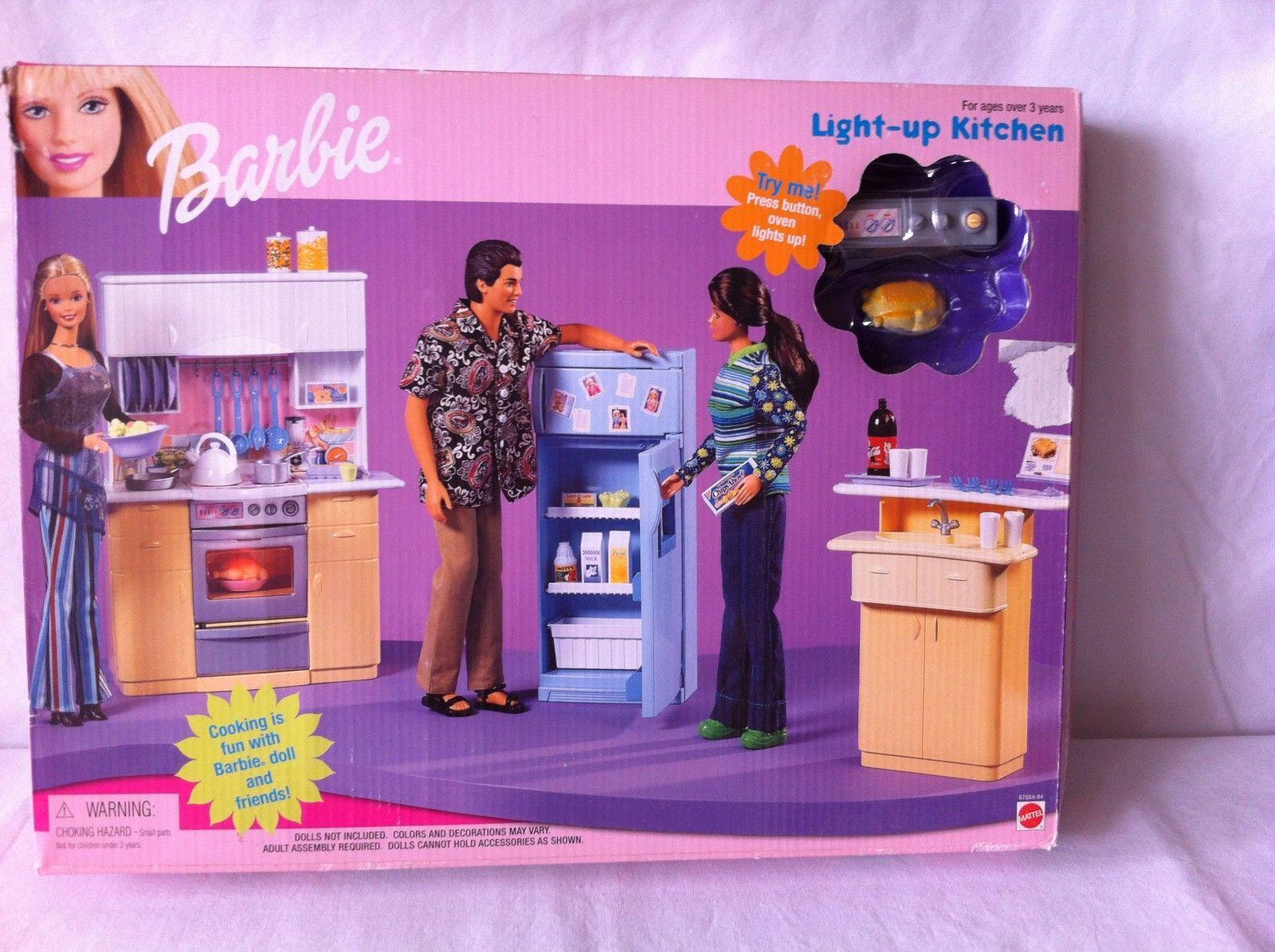 Barbie Kitchen Furniture Barbie Home Refrigerator And Cart Kitchen Playset By Mattel