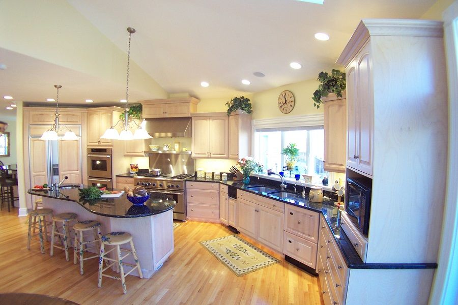 Large Kitchen - natural wood cabinets, granite countertops ...