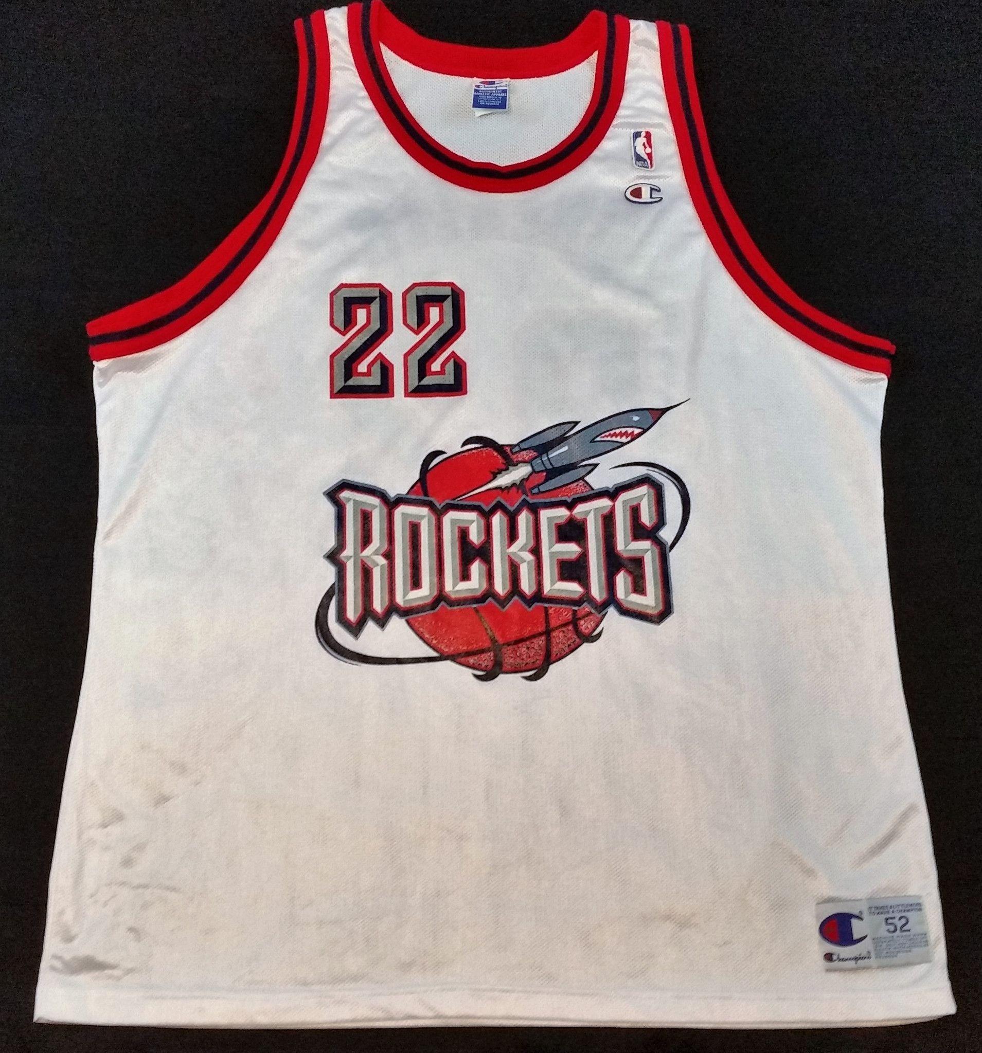 48956f3a7 Clyde Drexler Vintage Champion Jersey Houston Rockets NBA Rare Alternate  Mens 52