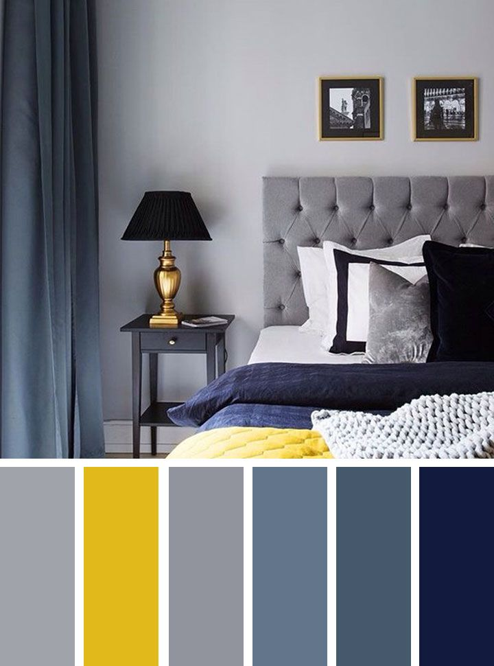 The Best Color Schemes For Your Bedroom Navy Blue Grey And Yellow Interior Design Bedroom Color Schemes Yellow Gray Bedroom Gray Bedroom
