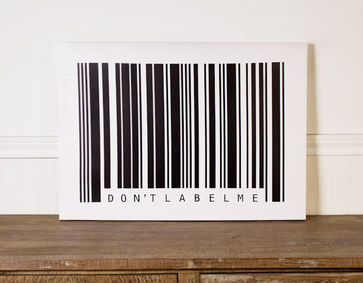 """""""Don't Label Me"""" Barcode Canvas Art - $24.97 at Earthbound Trading Co."""