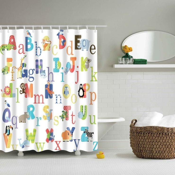 Alphabet Educational Cute Animal Kids Shower Curtain Bathroom
