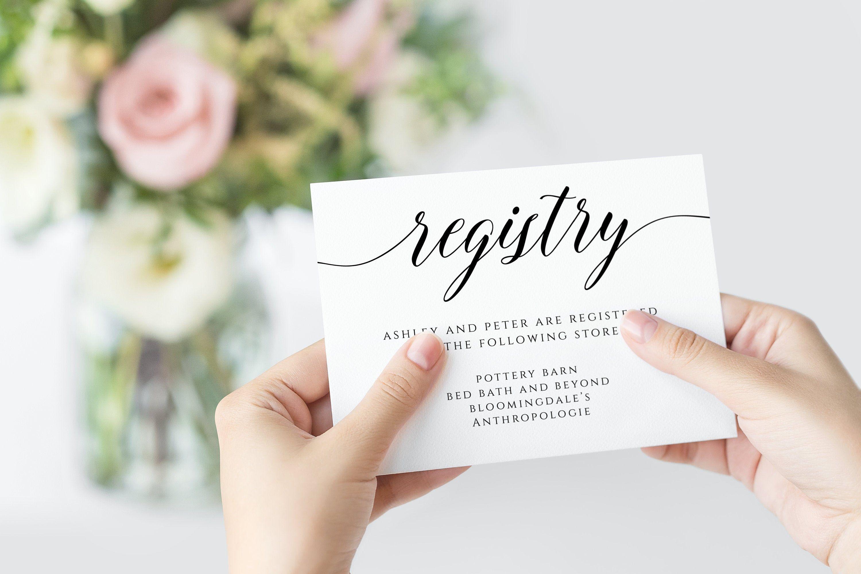Diy Registry Card Inserts Gift Registry Card Template Wedding