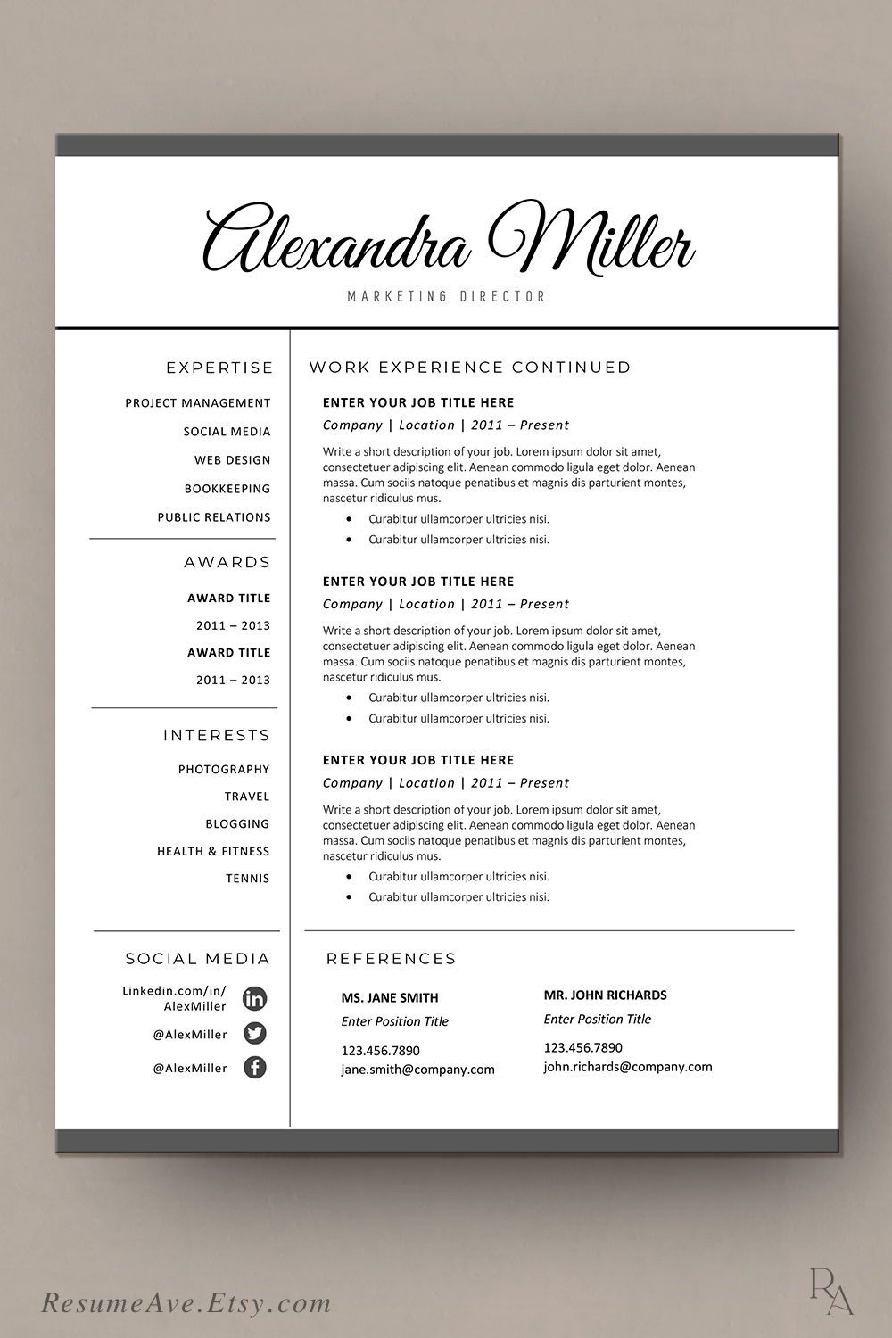 Resume template word document with script calligraphy name