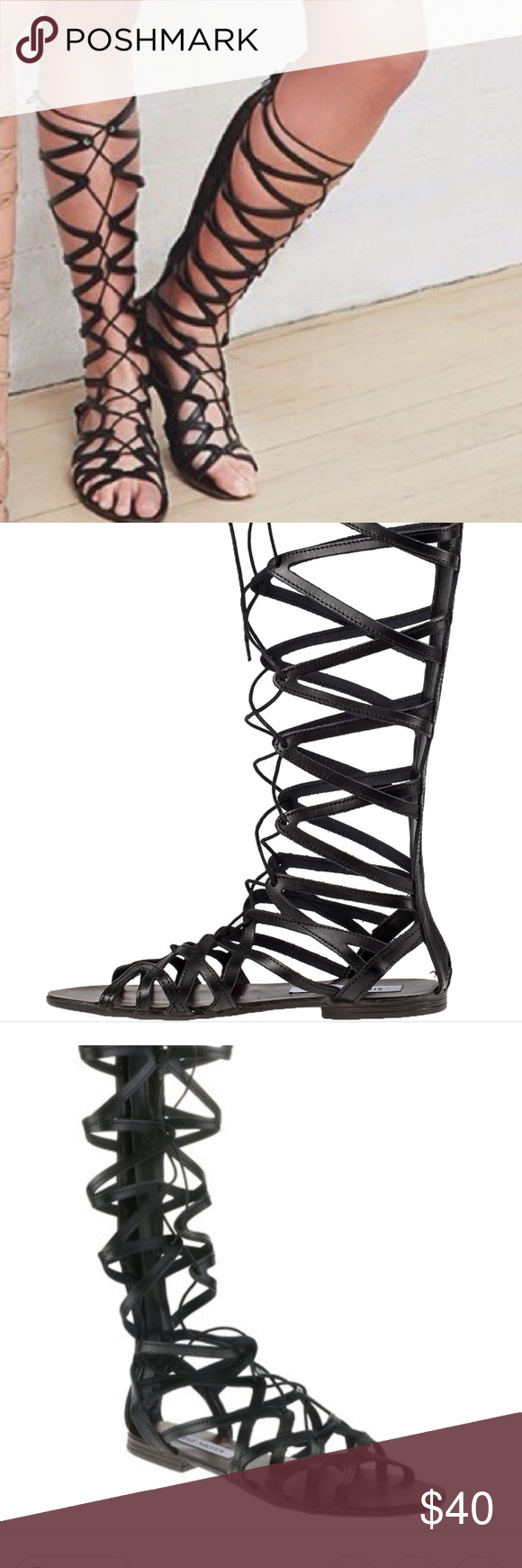 11c022be374 HERCULES GLADIATOR SANDALS IN BLACK SIZE 9 TRUE TO SIZE USED ONE ...