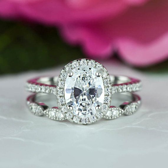 15 ctw Oval Halo Wedding Set Vintage Style Bridal Rings Man