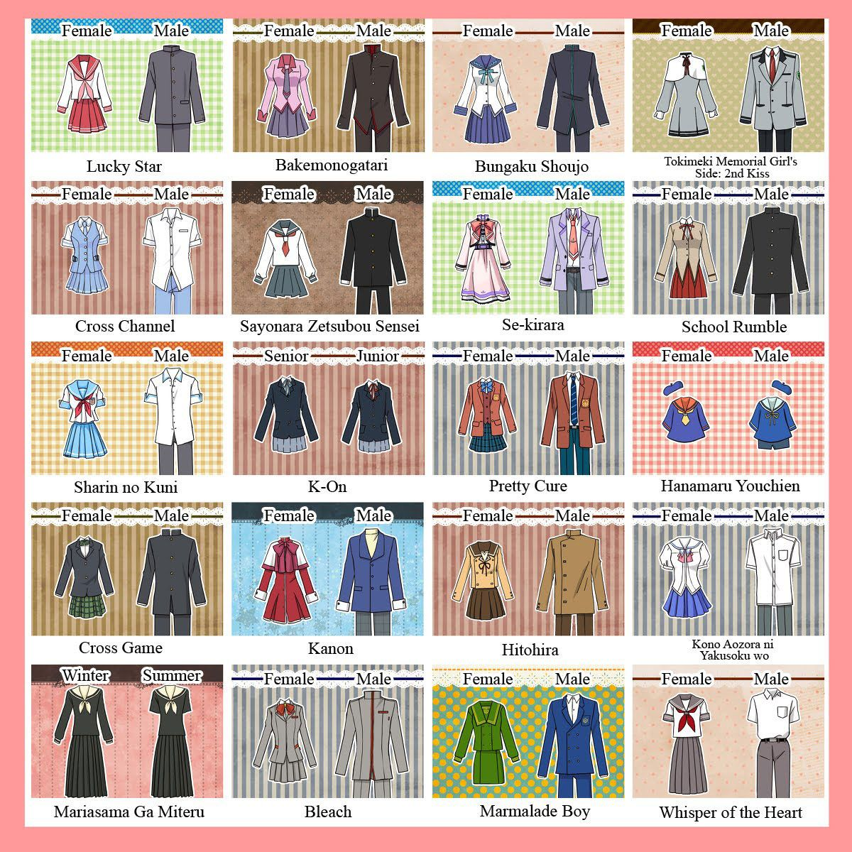School uniforms in popular anime series 1/2. See other