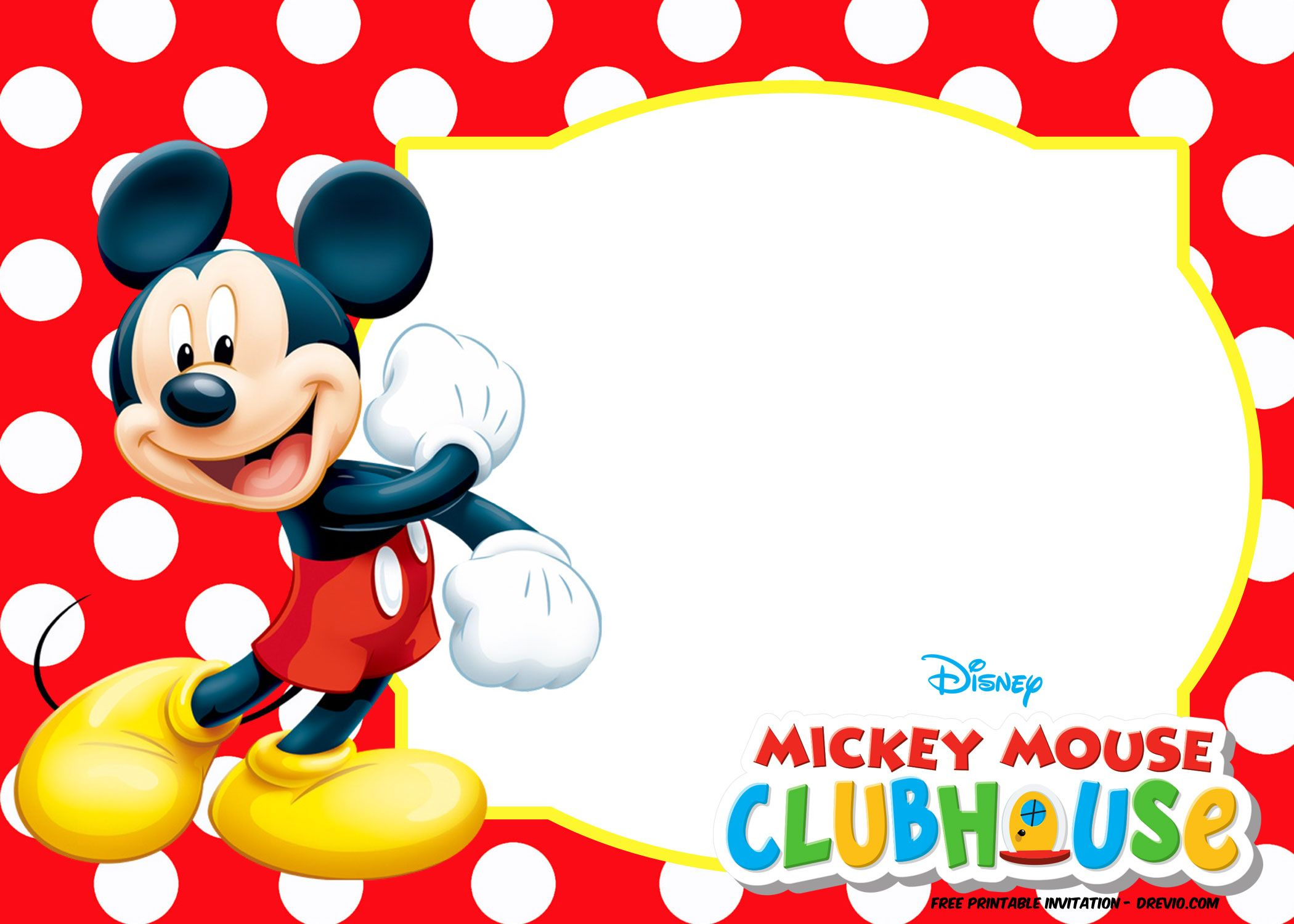 Mickey Mouse Polka Dot Invitation Templates Mickey mouse