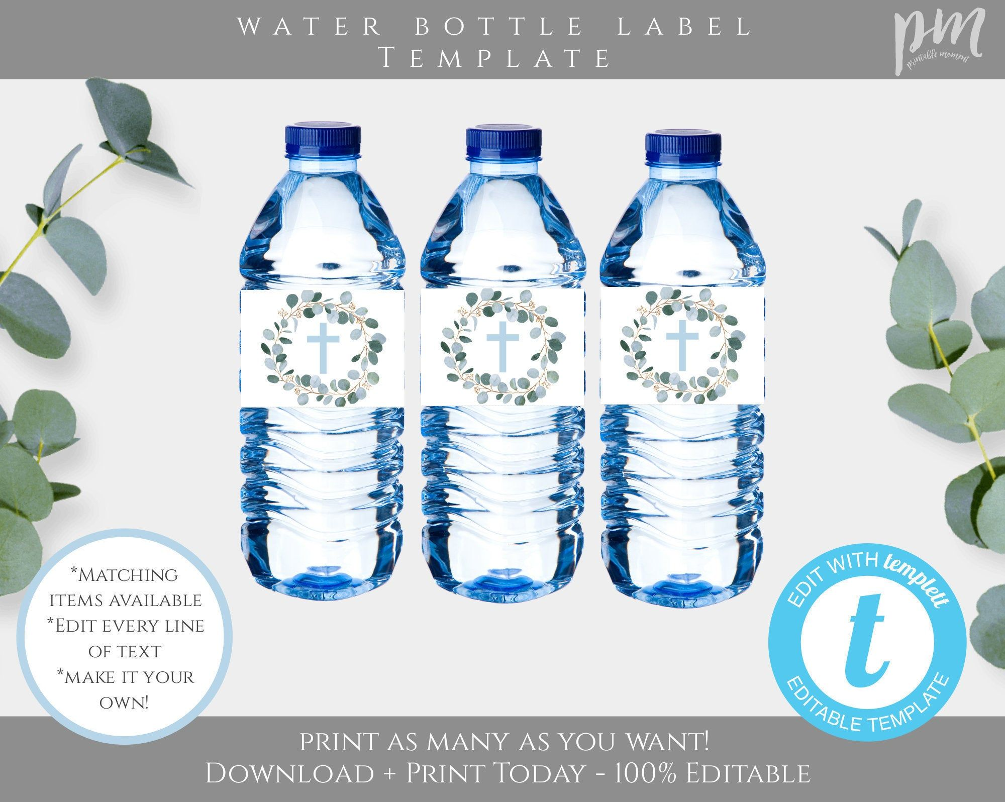 Baptism Water Bottle Label Template For Boy Printable Blue Water Bottle Label Cross Water Bottle Label Greenery Downloadable Template Bap2 In 2021 Bottle Label Template Water Bottle Labels Template Water Bottle Labels Mini water bottle label template