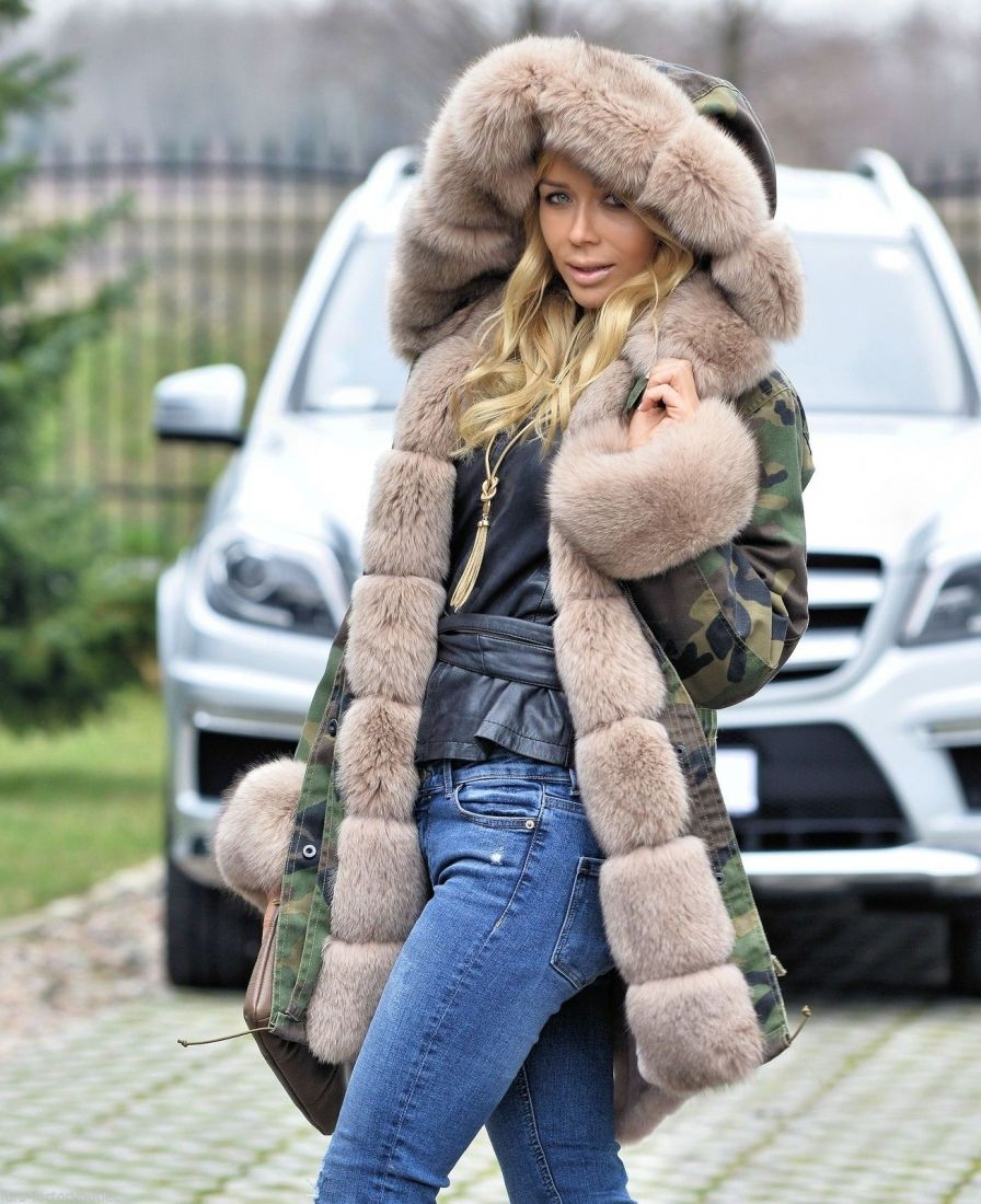 58d4ed4627c AMERICAN PARKA WITH FUR - military camouflage parka coat with saga fox fur  - furs outlet