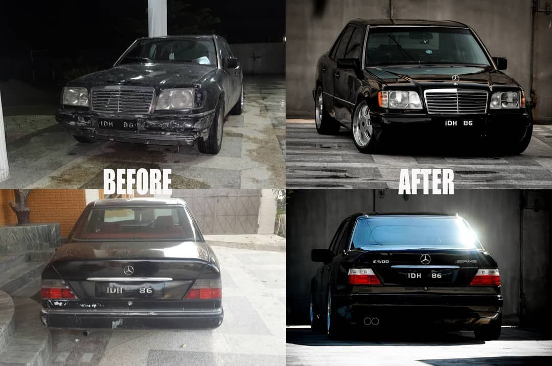 w124 1990 restored @zargmkan Before and After 👉 swipe left for more