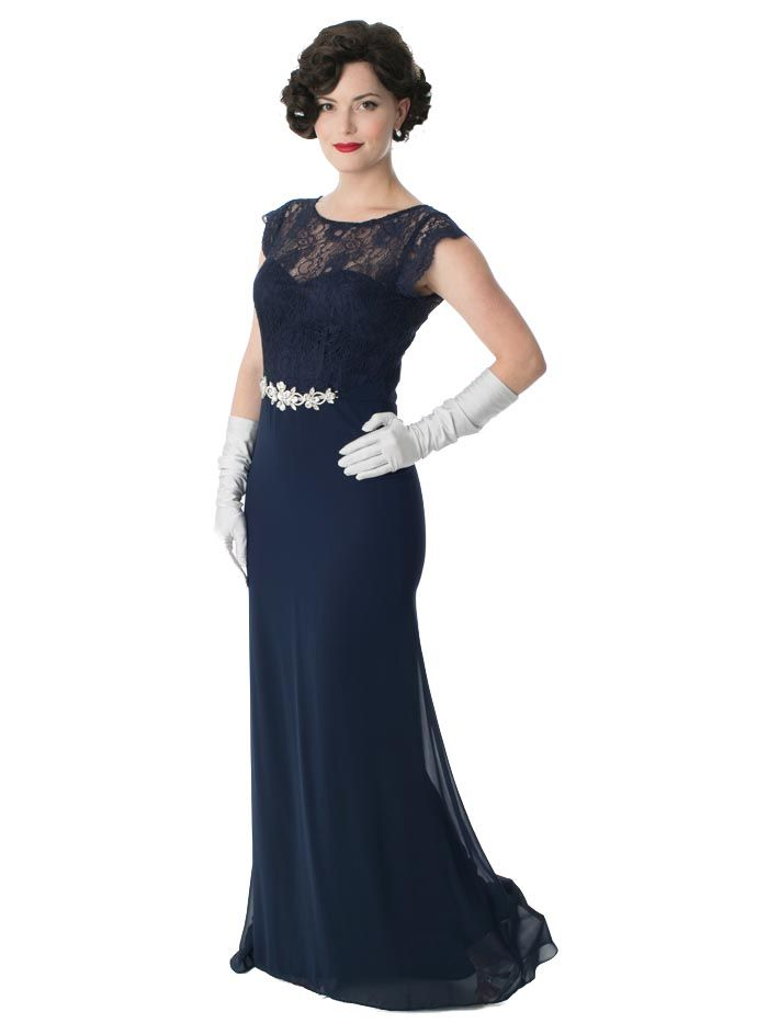242f0034ccc0 Navy Blue Chiffon and Lace Illusion Bodice Gown with crystal rhinestone belt