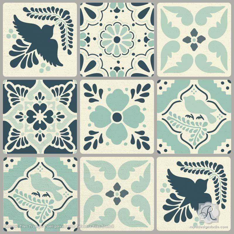Diy Mexican Talavera Tile Furniture Stencils On Ceramic Tile Stencil