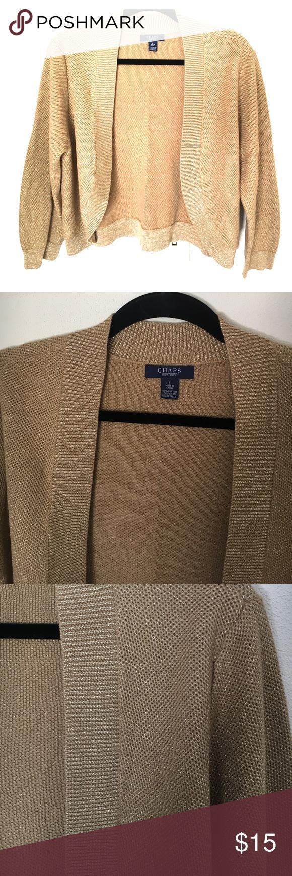 Chaps gold shimmer cardigan bolero sweater jacket | Boleros, Smoke ...