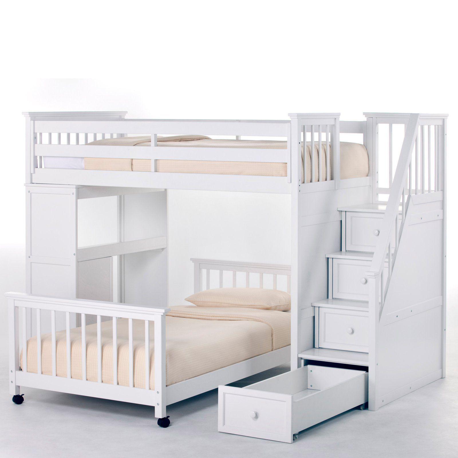 Ne Kids Schoolhouse Stairway Loft Bed White Bunk Bed Designs Loft Bed Loft Bunk Beds