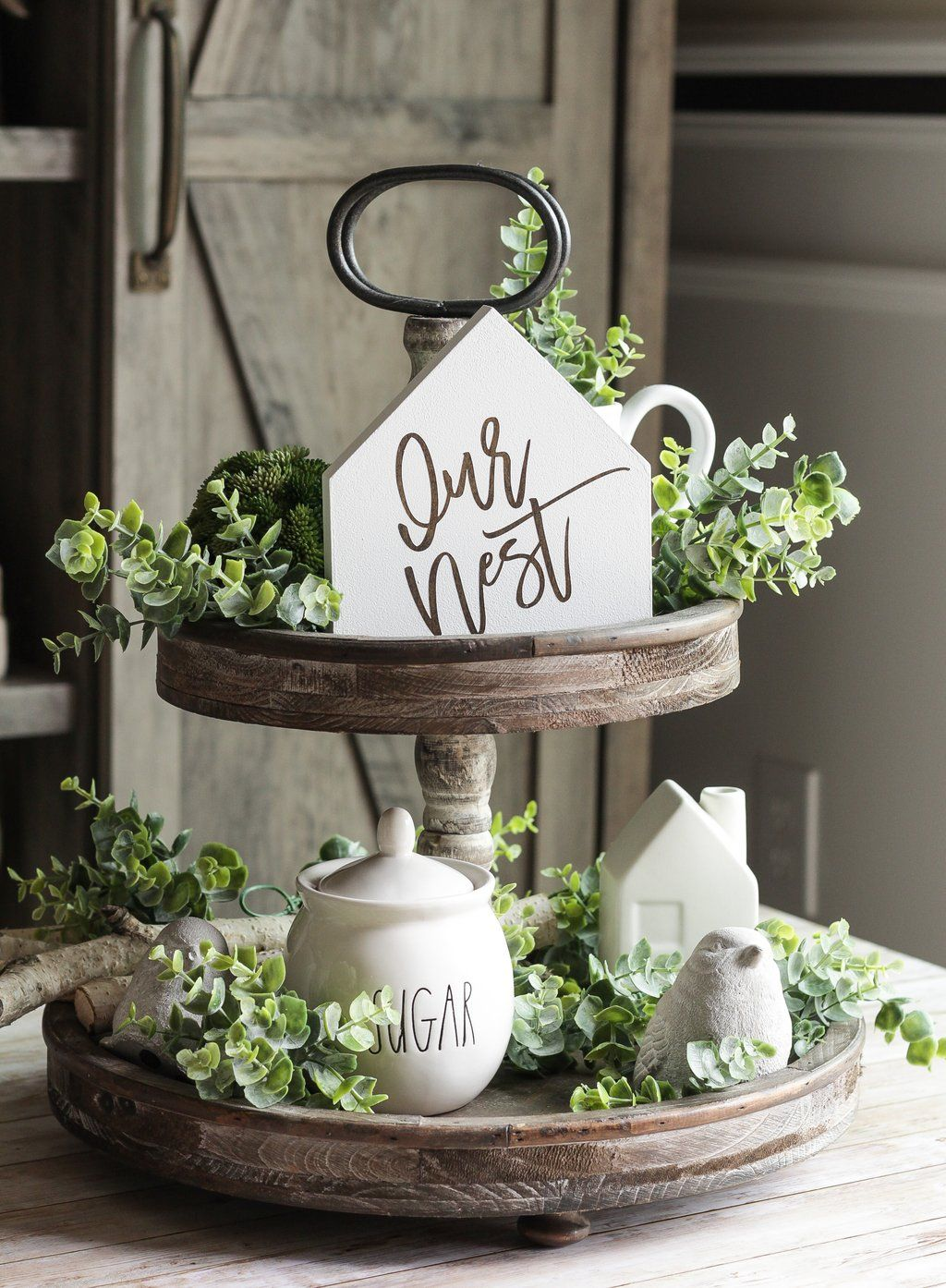Our Nest Tiered Tray Mini Sign | Rustic Home Decor | Farmhouse Wall Sign #tieredtraydecor