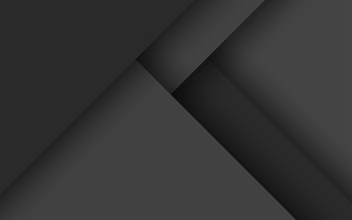 Download Wallpapers 4k, Material Design, Black Lines, Dark