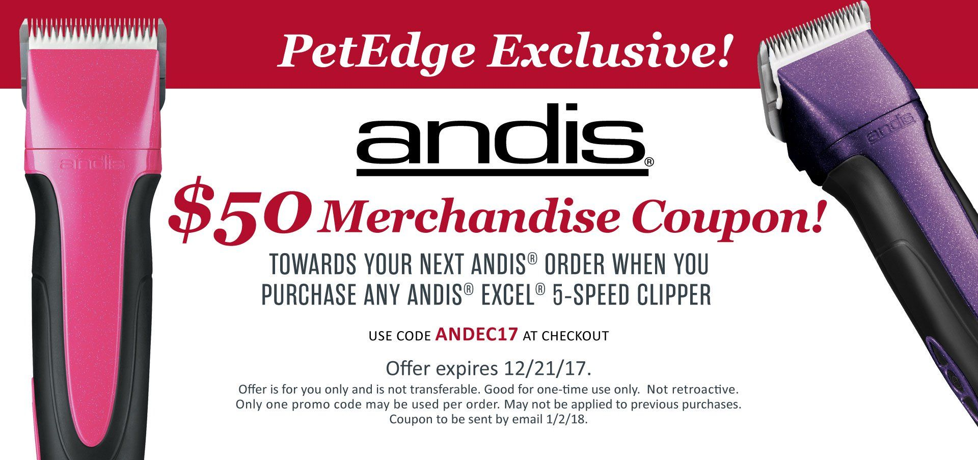 Andis 50 Merchandise Coupon Dog Grooming Pet Supplies Grooming
