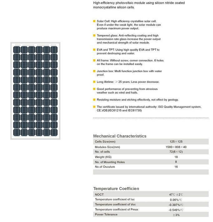 Solar Panel 150w Monocrystalline Solar Photovoltaic Module Silicon Solar Cell