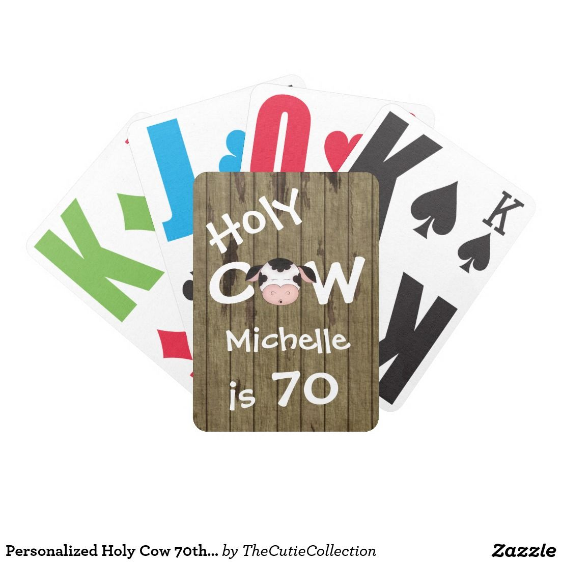 Personalized Holy Cow 70th Birthday Playing Cards