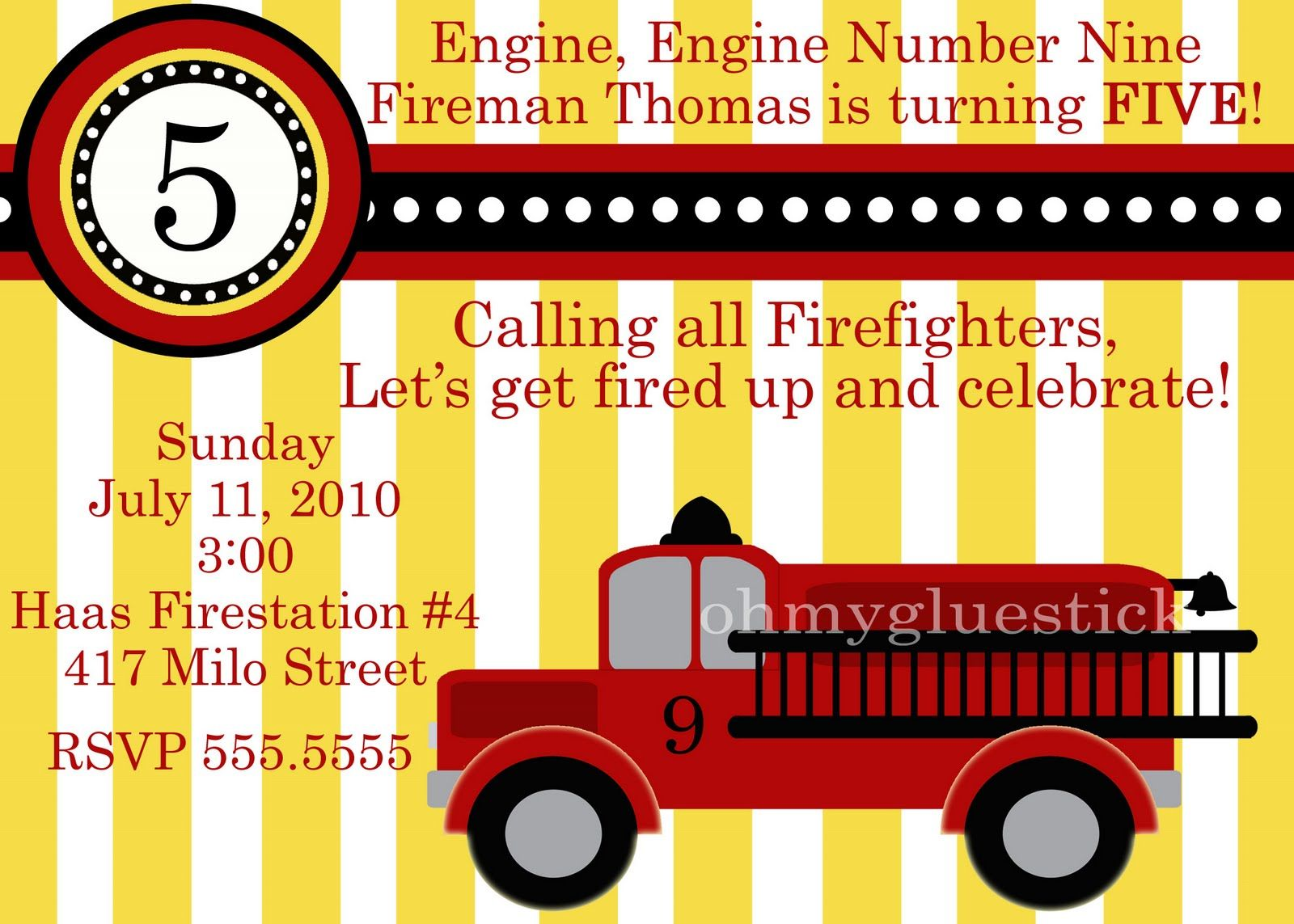cool Free Printable Fire Truck Birthday Invitations Get more ...