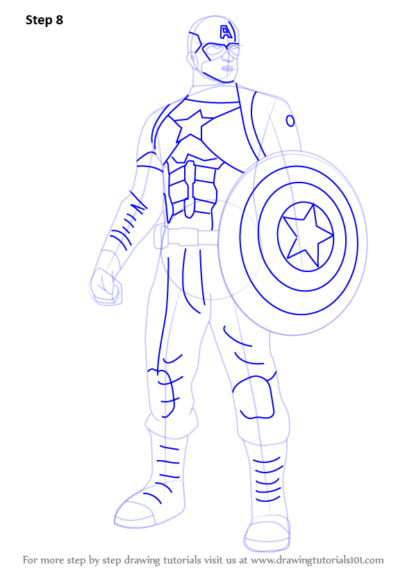 Coloriage Captain America Civil War.Learn How To Draw Captain America From Captain America Civil