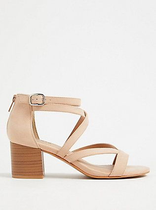 Nude Faux Suede Strappy Chunky Heels