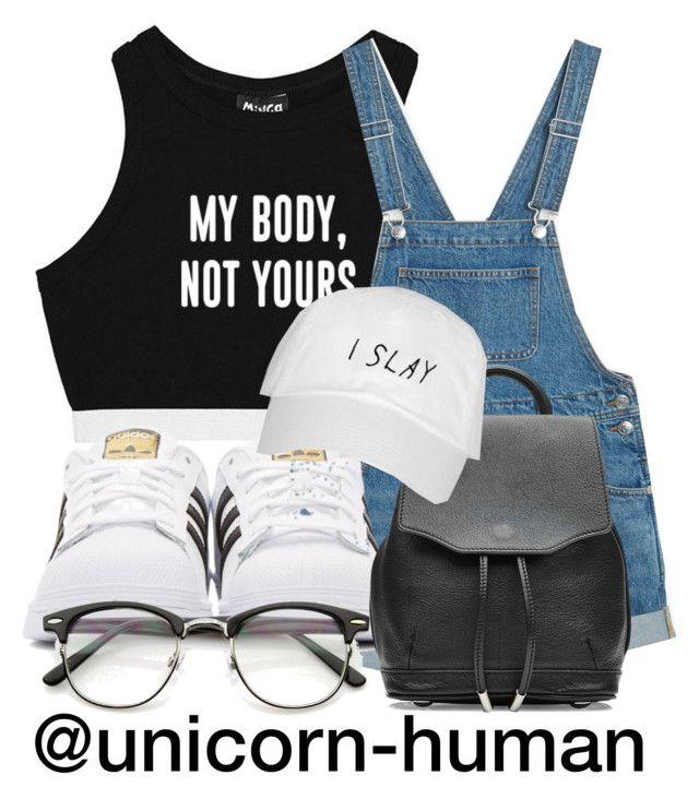 """Untitled #1974"" by unicorn-human ❤ liked on Polyvore featuring Minga, Monki, adidas Originals, rag & bone and ZeroUV"