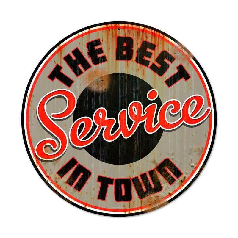 Retro Best Service Round Metal Sign 14 X 14 Inches Art De Garage