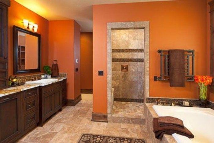 salle de bain orange et marron - Recherche Google | Salle de bain ...