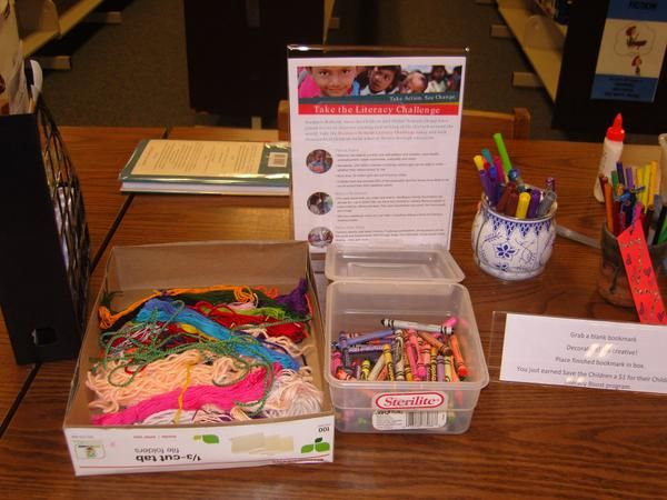 Bookmark making supplies for LPHS Loves to Read - La Plata HS Library